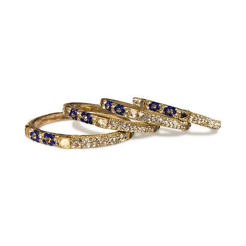 4 Royal Blue Floral Bangles Set (Kangans)