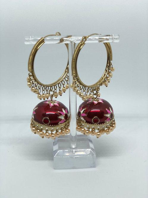 Maroon MEENAKARI Jhumki Earrings (Hand Painted)