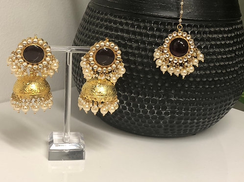 ROMIKA Maroon Gold Plated PACHI KUNDAN Earring & Maang Tikka Set