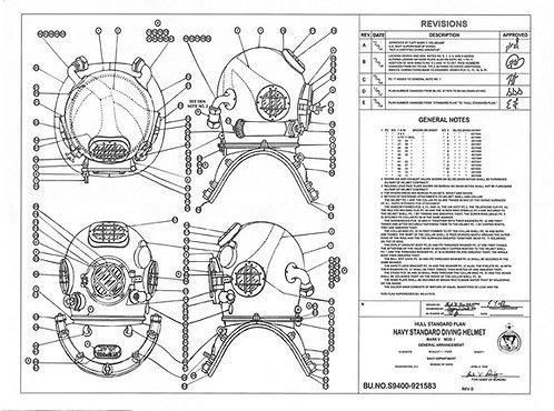 1948 Navy Mark V Hull Standard Plan Blueprint Poster