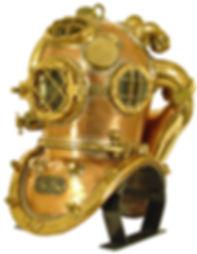 Diving helmet display stand Steelhead side