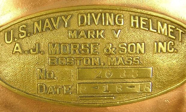 A.J. Morse & Son Mark V Diving Helmet ID Plate