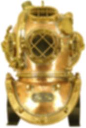 Steelhead antique diving helmet display stand front