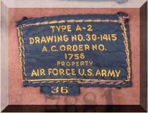 Air Force U.S. Army Type A-2 Leather Jacket Tag