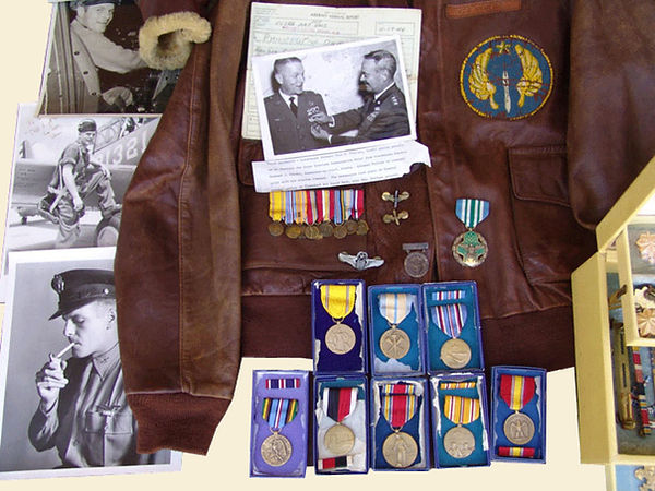 WW2 Service Medals, Photos And Flight Jacket