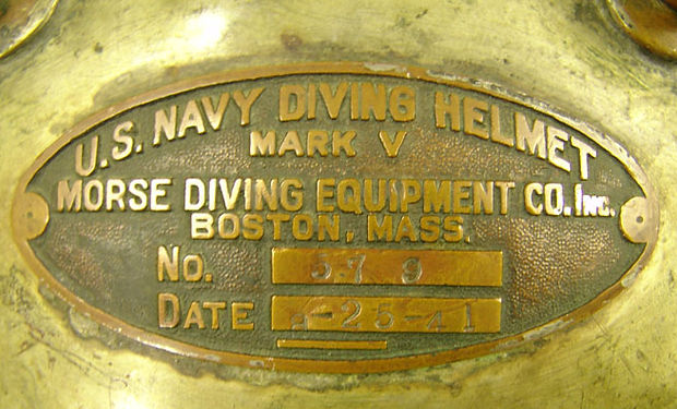 Morse Diving Equipment Co Mark V ID Plate