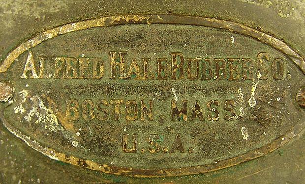 Alfred Hale Rubber Co ID brass helmet plate