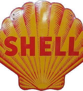 shell porcelain gas station sign
