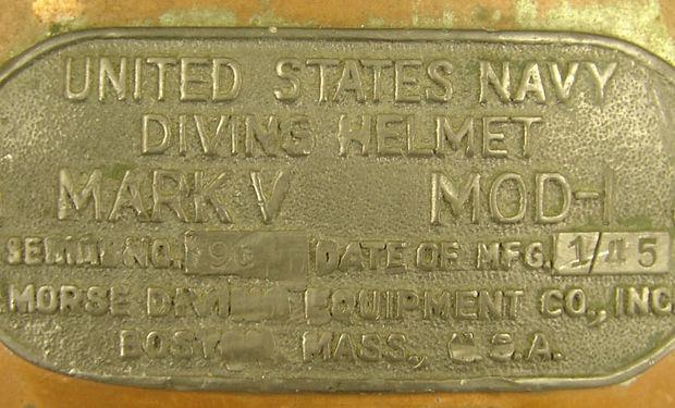 United Staes Navy Divers Helmet Mark V Morse Diving Equipmet Co. Inc
