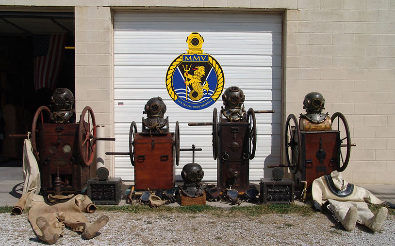 antique diving helmets and other equipment