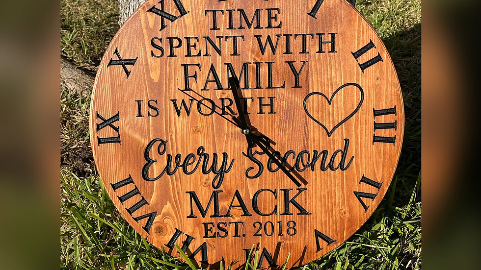Custom Timeless Family Name Clock