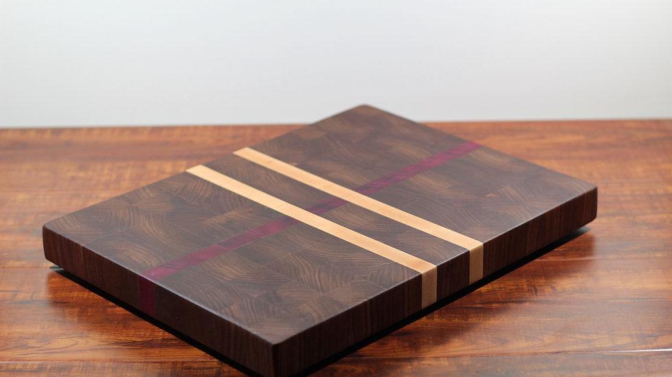 Endgrain Walnut, Purple Heart, and Maple Cutting Board