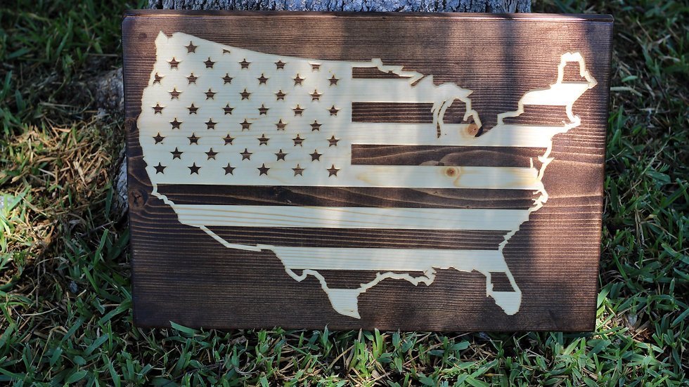 USA Map Wooden Sign