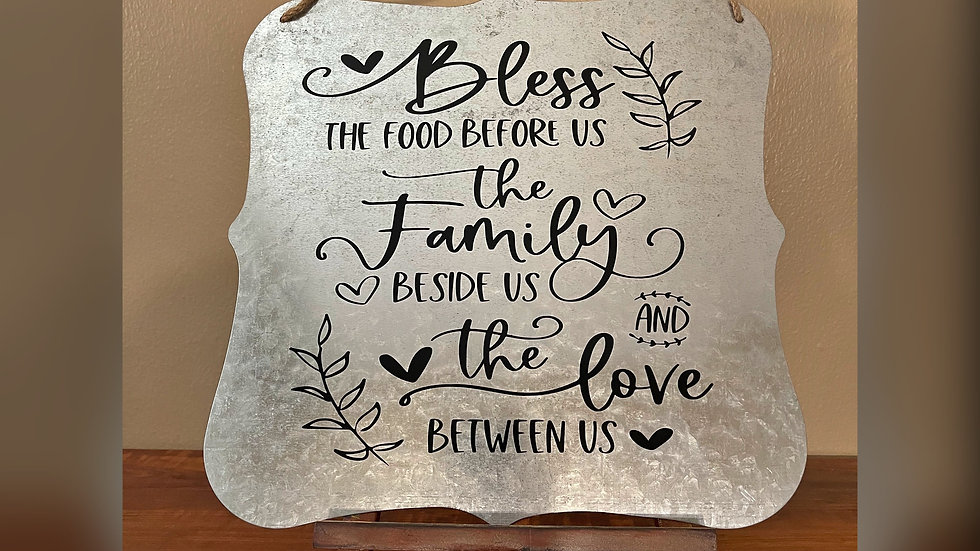 Bless The Food, Family & Love Galvanized Sign