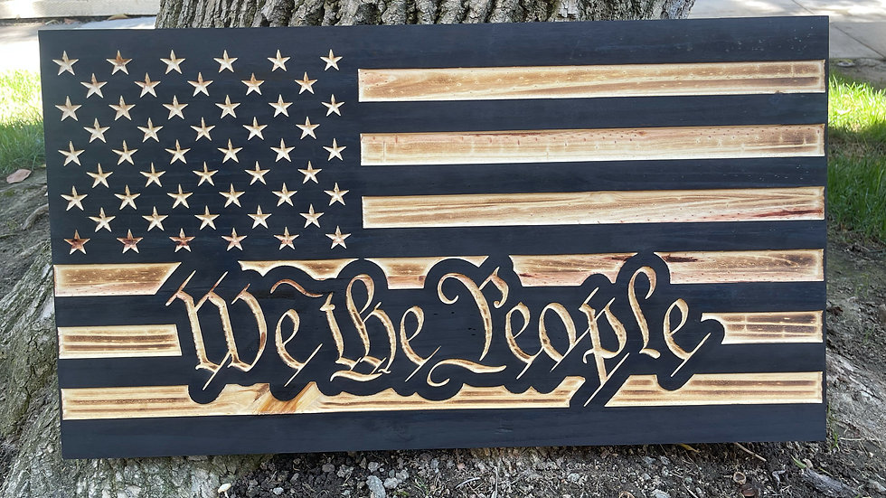 We The People American Wooden Flag