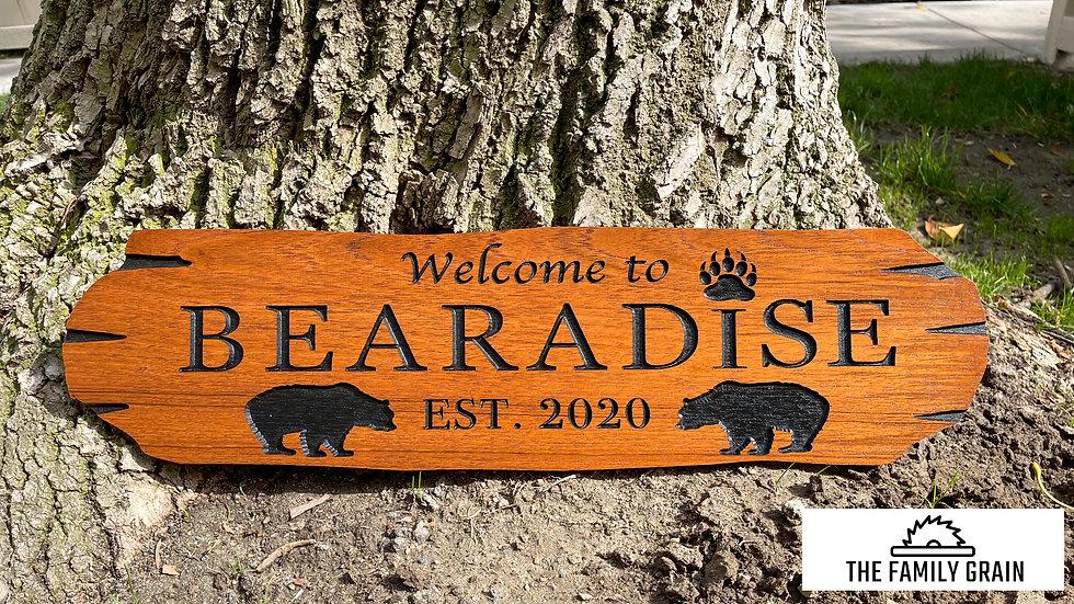 Personalized Teak Bearadise Sign