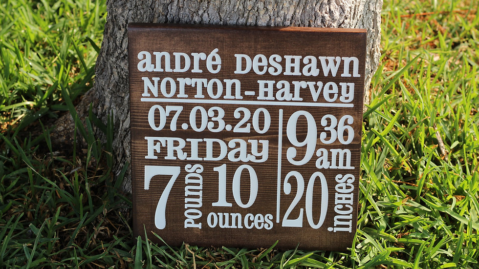 Birth Annoucement Wooden Signs