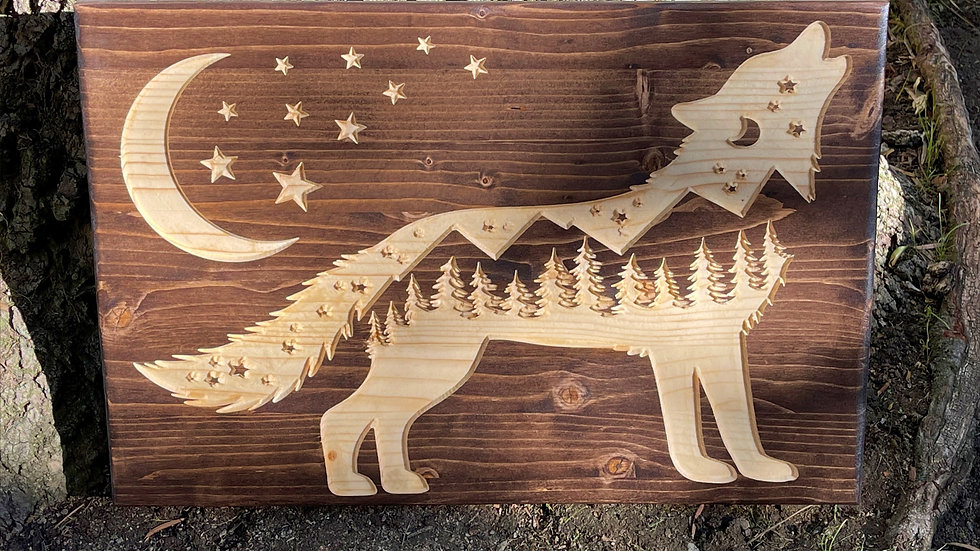 Moonlight Sky Wolf Carved Wooden Sign