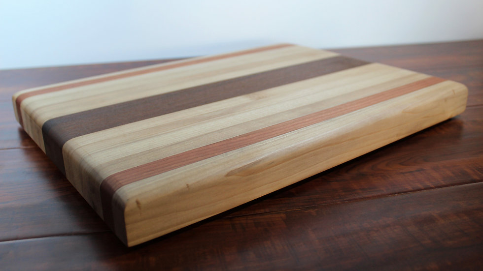 Maple and Cherry With Ironwood Center Horizontal Cutting Board
