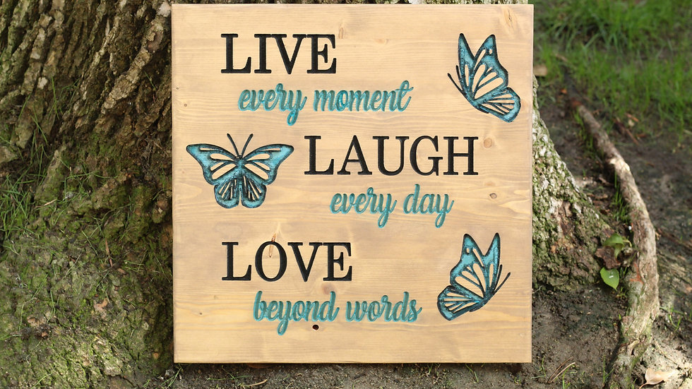 Live, laugh, love Carved Wooden Sign With Hand Painted Butterflies
