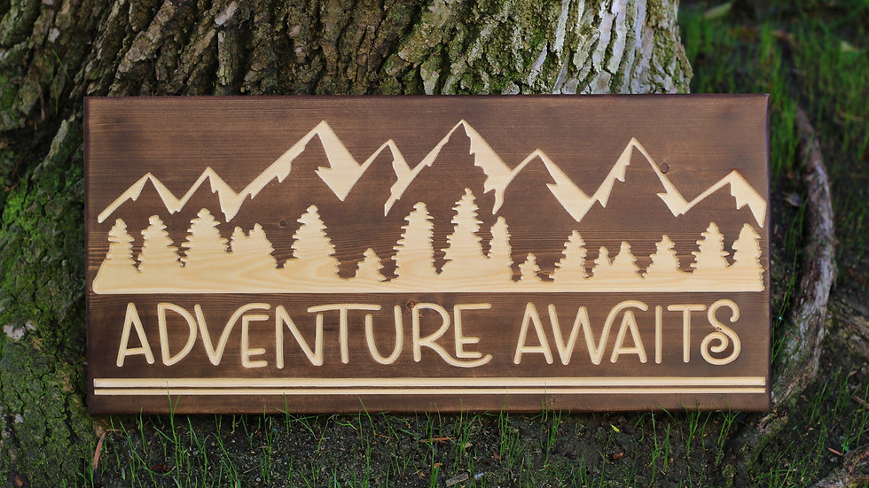 Adventure Awaits Carved Wooden Sign