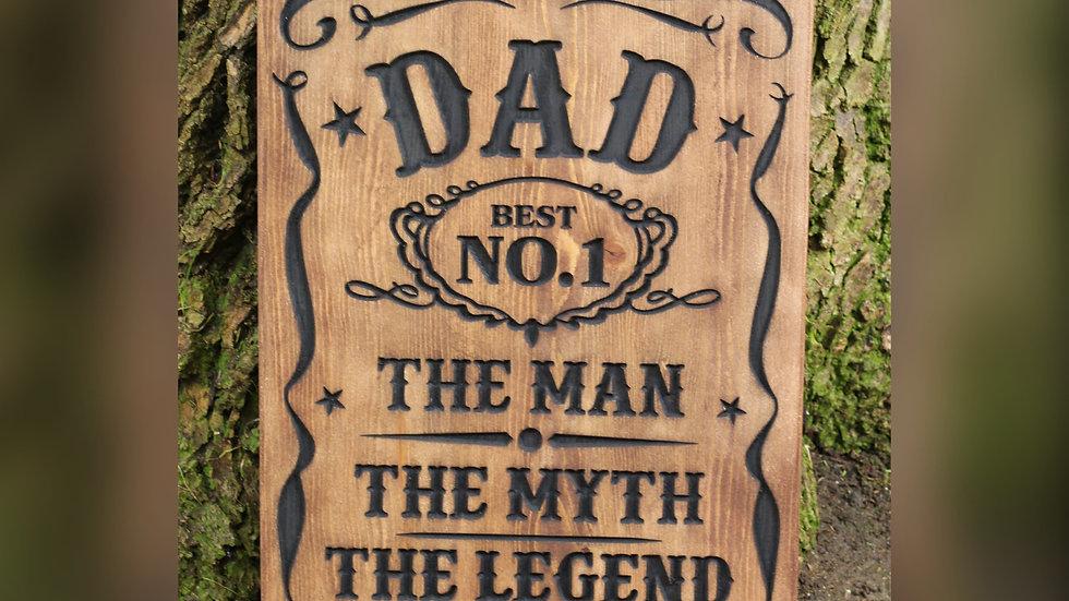 Dad Carved Wooden Sign