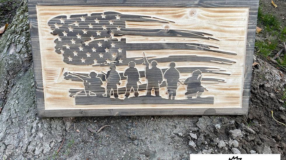 Patriot Carved Wooden Sign