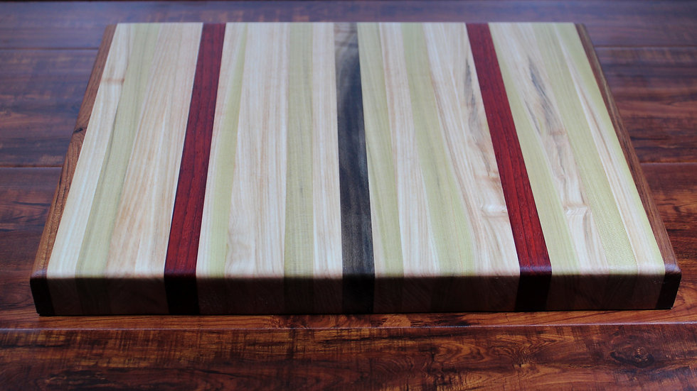 Padauck, Maple, and Teak Vertical Cutting Board