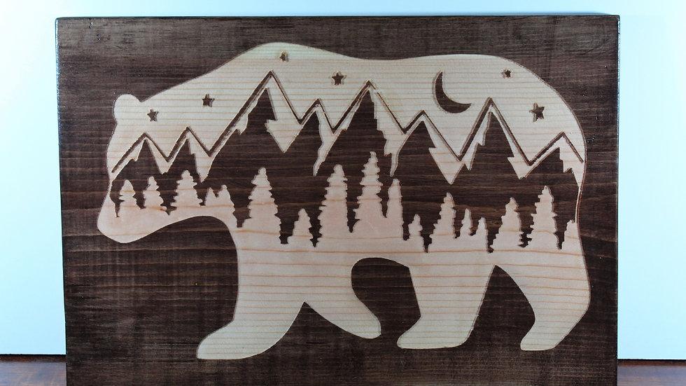 Mountain Bear Wooden Sign
