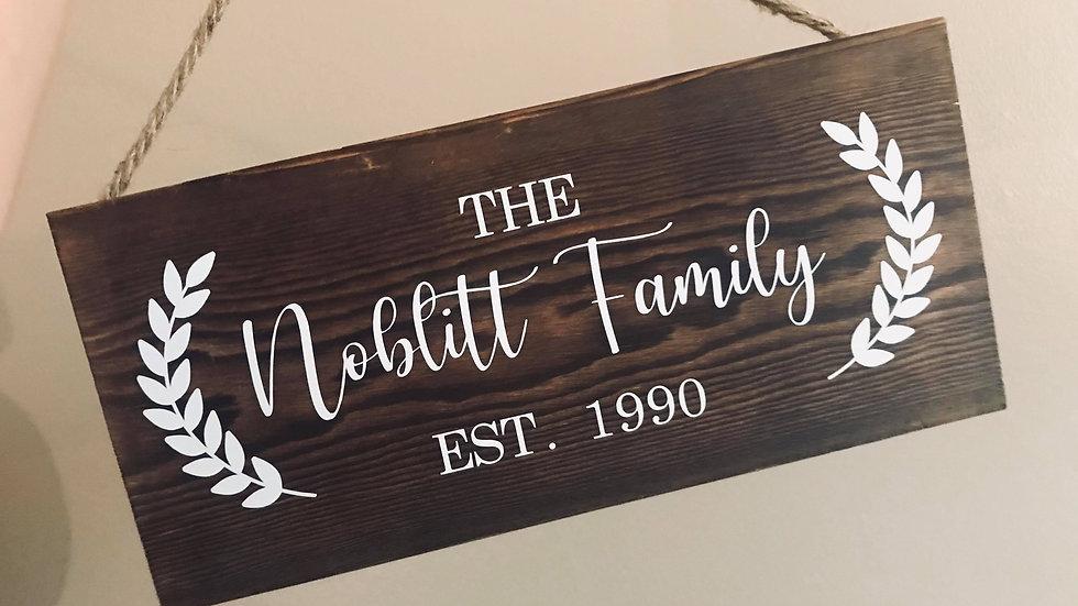 Barnwood Vinyl Family Name Sign