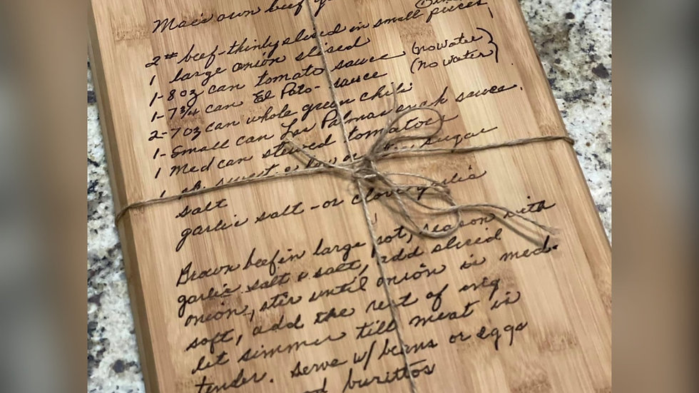 Family Recipe Boards Laser Engraved
