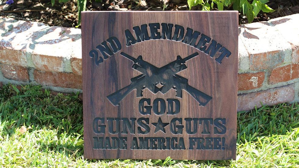 2nd Amendment Wooden Sign