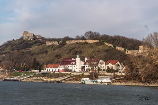 Village and old castle Ruin near Bratislava Solvakia.
