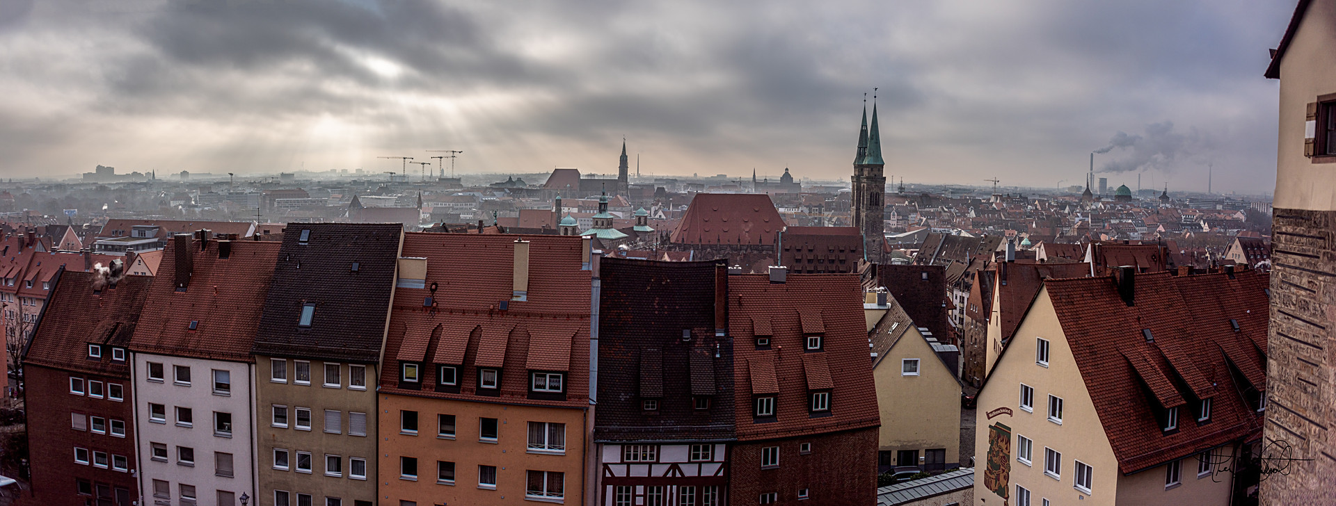 A Panorama (4 shots stiched together) looking south over Nuremberg from the Imperial Castle the highest point in Nuremberg Germany.