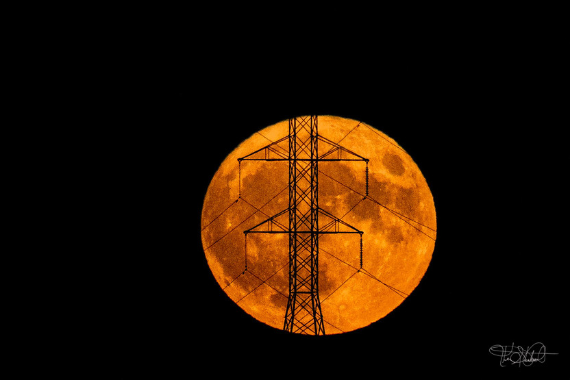 Golden Full Moon and Tower