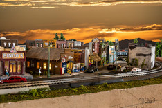 Model Train Old Town at Sunset