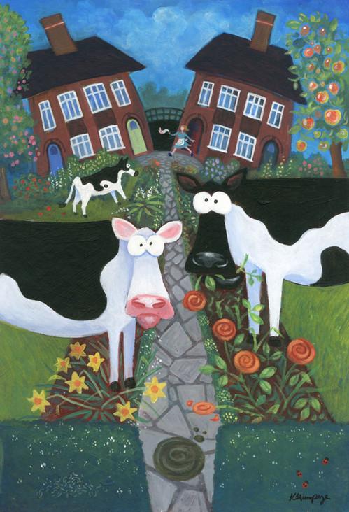 Cows in my Front Garden by Karen Humpage