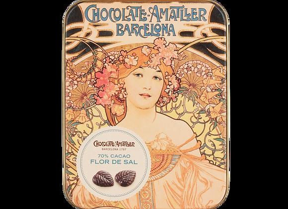 Amatller chocolate fine leaves with salt, 70%, tin.