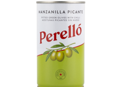 Perello Manzanilla Spicy Pitted Olives Tin 150g