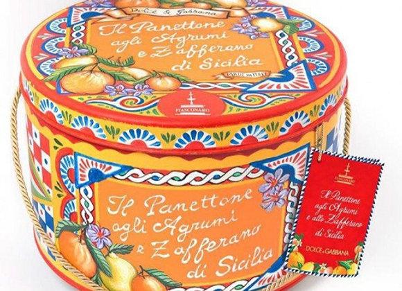 Luxury Citrus Fruit & Saffron Panettone in Dolce & Gabbana Design Tin 500g