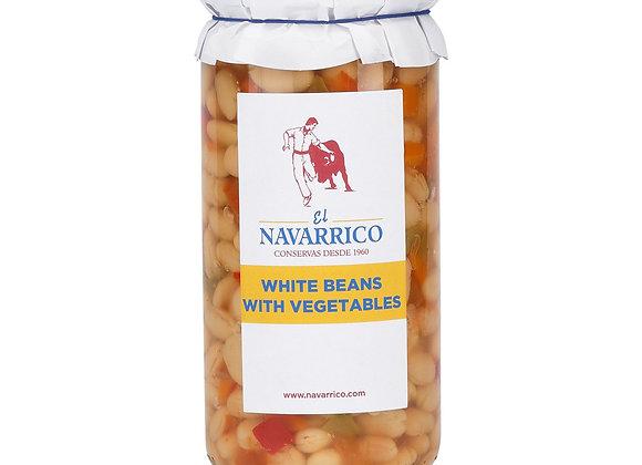 Navarrico Haricot Beans and vegetables, jar 720g