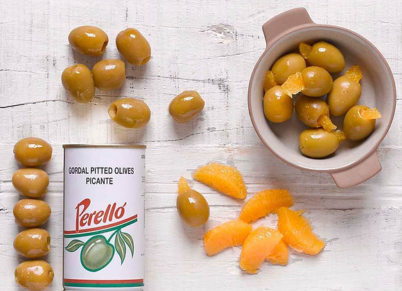 Gordal pitted olives, large, green, with a hint of chilli, tin. Catalua 150g