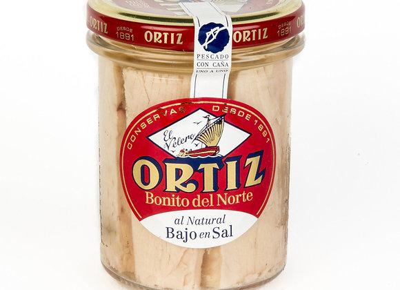 Ortiz Bonito tuna fillet in spring water, low in salt, jar 220g