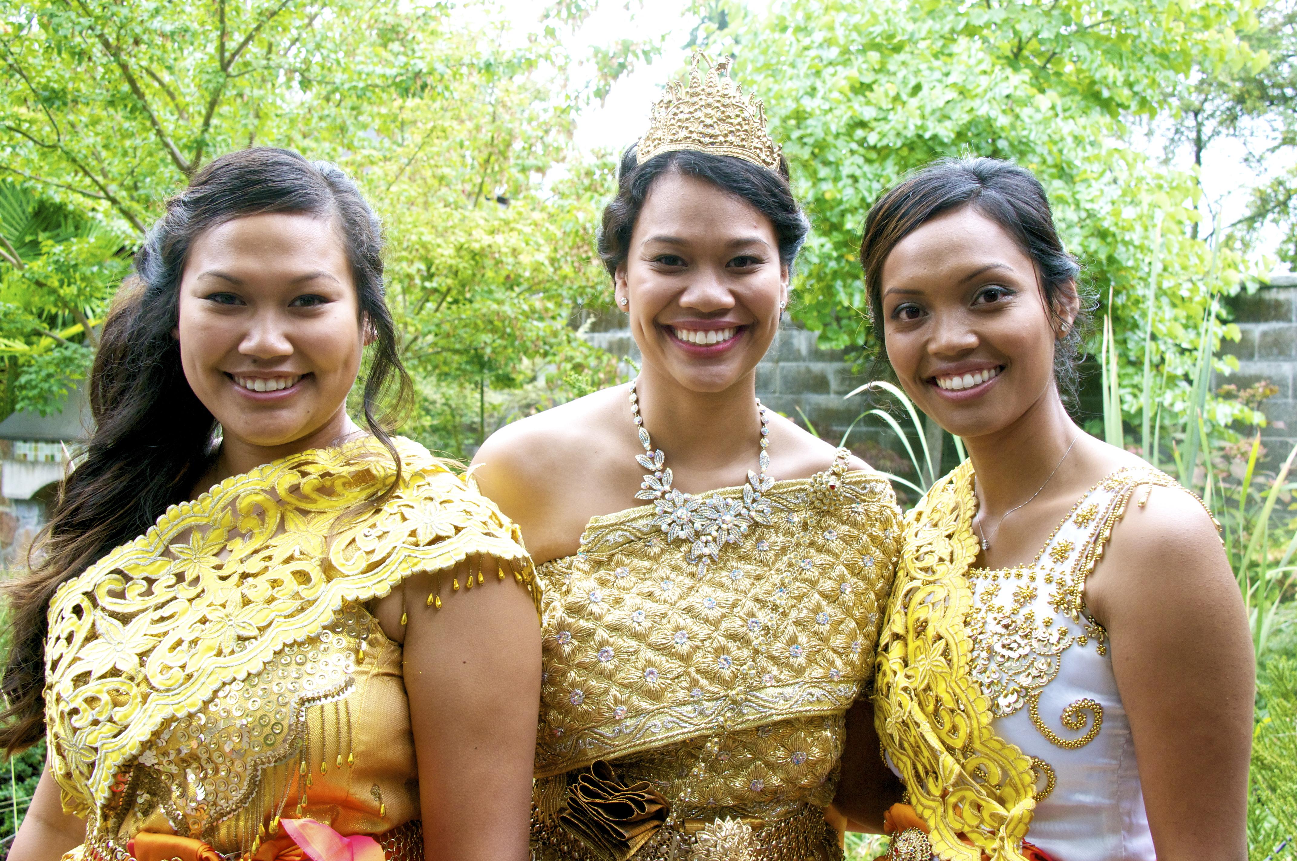 Three Sisters at a Cambodian Wedding