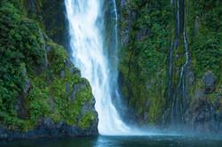 11 - Milford Sound Waterfall - 18 x 12 - Deep Matte Print - White Matte & Black Frame