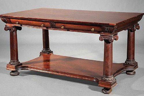 Classical Carved Mahogany Library Table