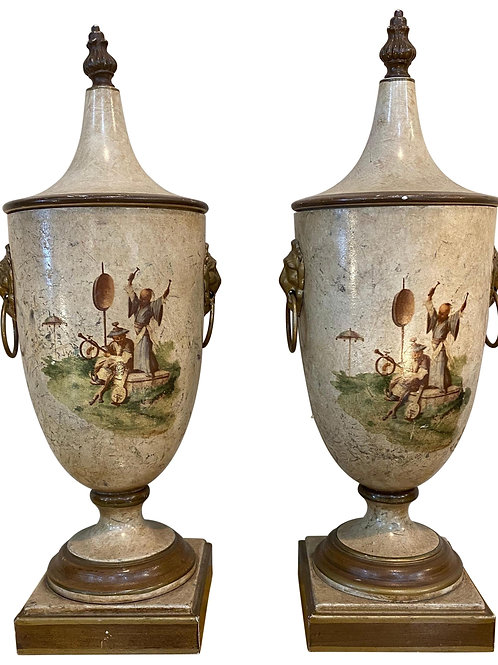 Pair of Italian Made Vintage White Chinoiserie Style Chestnut Urns