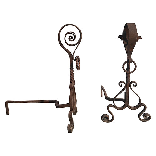 Pair of Wrought Iron Arts & Crafts Andirons