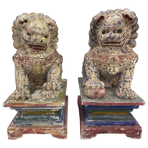 Great Pair of Polychrome Carved Wood Foo Dogs