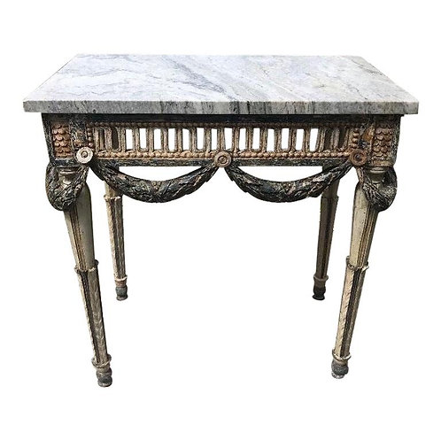 18th Century Swedish Neoclassical Painted Console with Marble Top